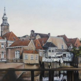 De Zeedijk Blokzijl, acryl on cotton