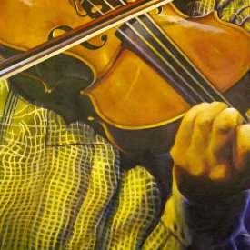 Violist, acryl on canvas